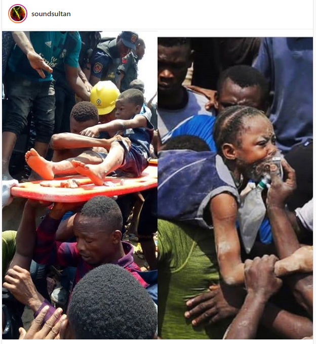 Children been rescued from the Ita Faaji collapsed building.